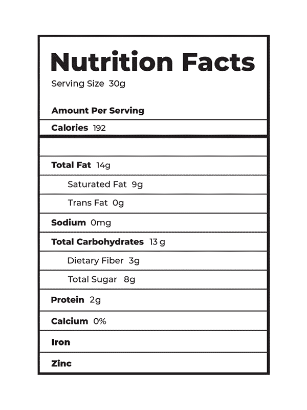 DC Nutrition Facts